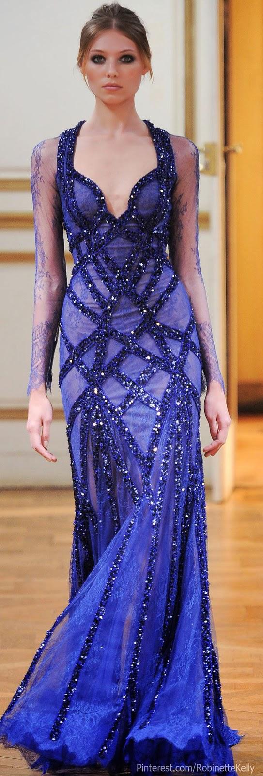 magnificent cobalt blue Zuhair Murad gown, F/W 2013