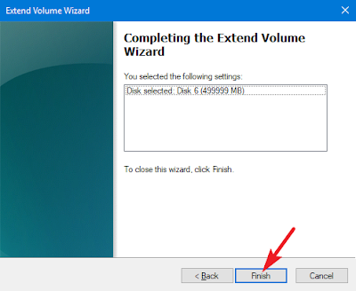 finish volume wizard