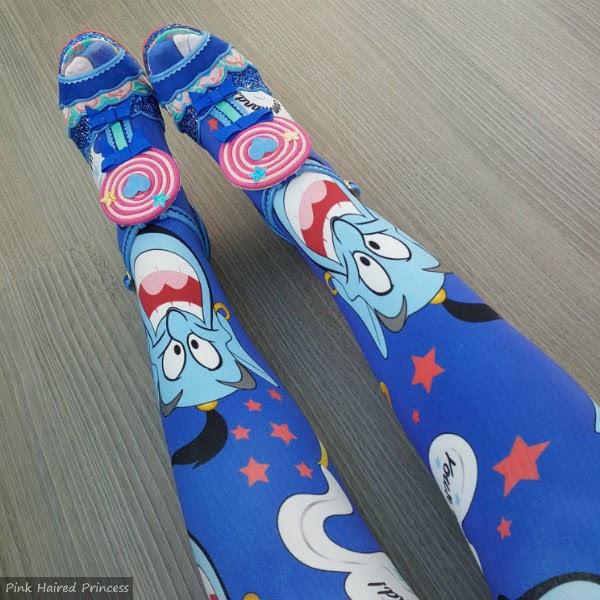 wearing blue disney genie tights