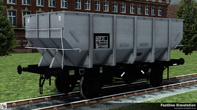 Fastline Simulation: A freshly repainted dia. 1/146 unfitted 21t coal Hopper with boxed HOP 21 coding.