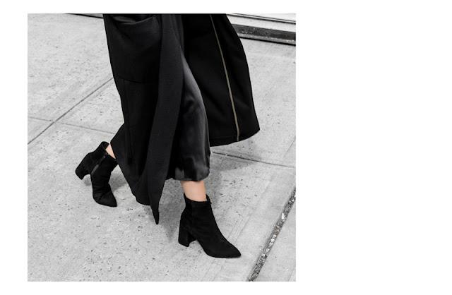 Сочетание шерсти, атласа и замши в total black look