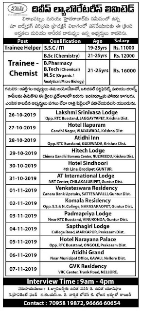 Divis Laboratories - Walk-in interview for B.Sc, M.Sc, B.Pharm, B.Tech, SSC, ITI Freshers on 26th October to 7th November, 2019