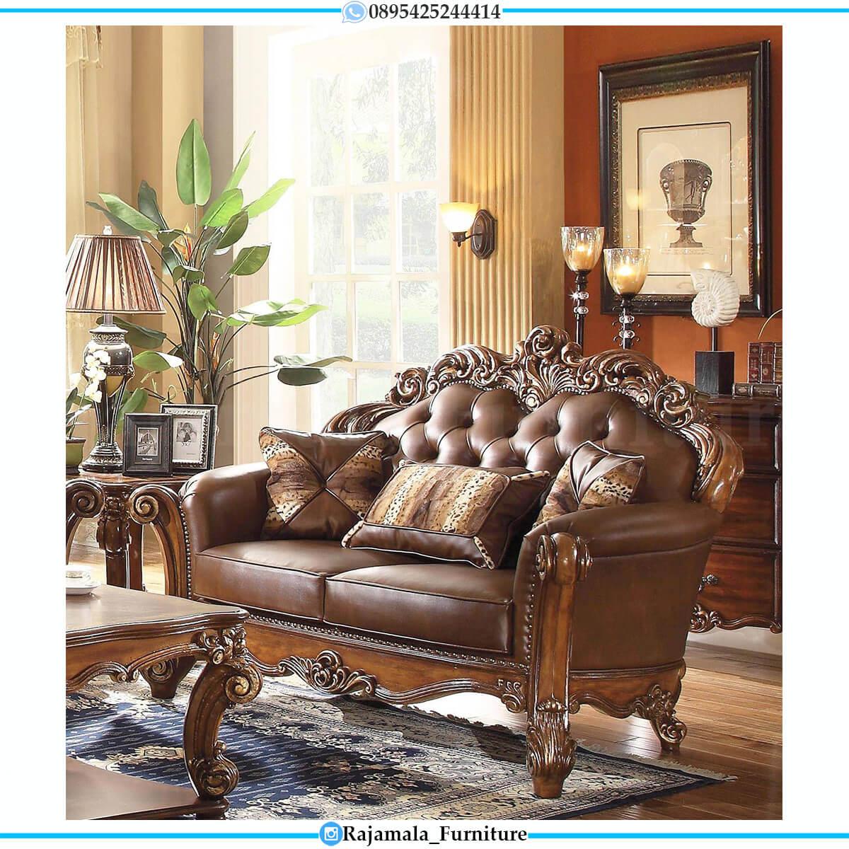 Set Sofa Tamu Mewah Jati Classic Luxury Natural Salak Brown Glossy RM-0609