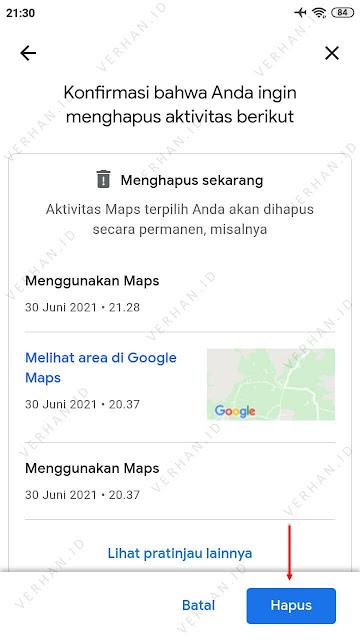 konfirmasi hapus history google maps