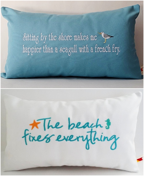 Coastal Pillow Covers with Embroidered Quotes Custom
