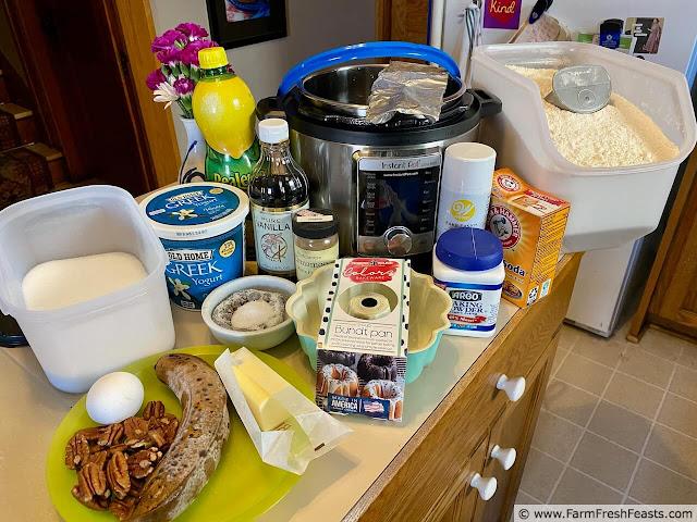 image of ingredients used to make Instant Pot Banana Bundt Bread