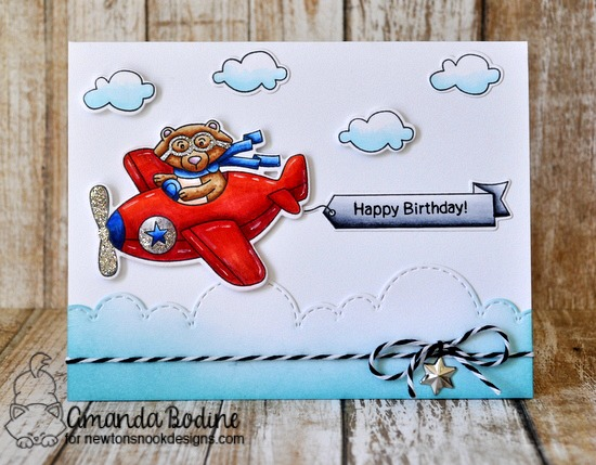 Bear driving Airplane Card by Amanda Bodine | Winston Takes Flight stamp set and Sky Borders die set by Newton's Nook Designs #newtonsnook