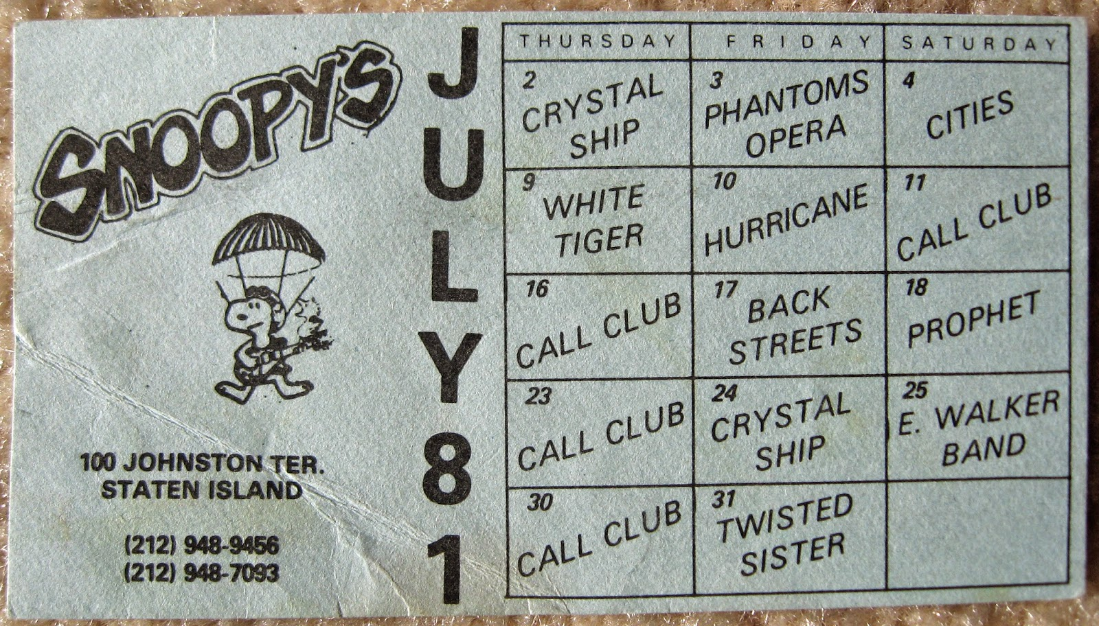 "Snoopy's formally ""The Factory"" band line up card... found this in some of my stuff."