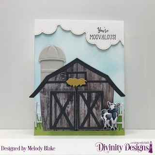 Stamp/Die Duos: Farm Friends, Stamp Set: Hogs & Kisses, Custom Dies: Barn, Farm Fence, Cloud Borders, Grass Lawn, Paper Collection: Weathered Wood