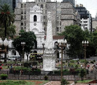 Obelisco da Plaza de Mayo e Cabildo, ao Fundo