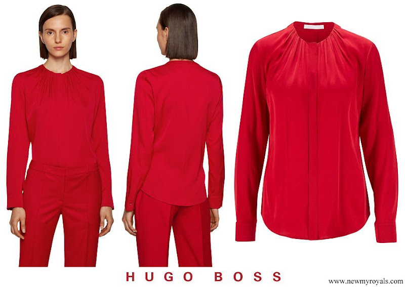 Crown Princess Mary wore Hugo Boss Banora Gathered Silk Blouse