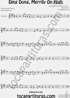 Partitura de Ding Dong, Merrily On High para Clarinete by Sheet Music for Clarinet Music Scores