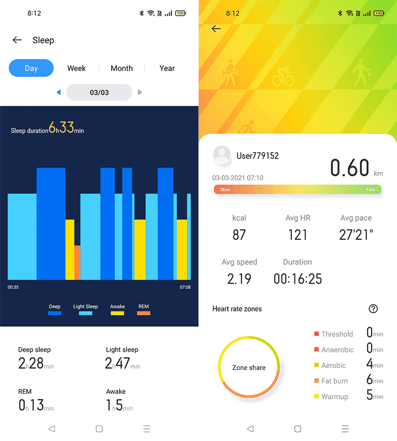 realme Link sleep and excerise monitoring