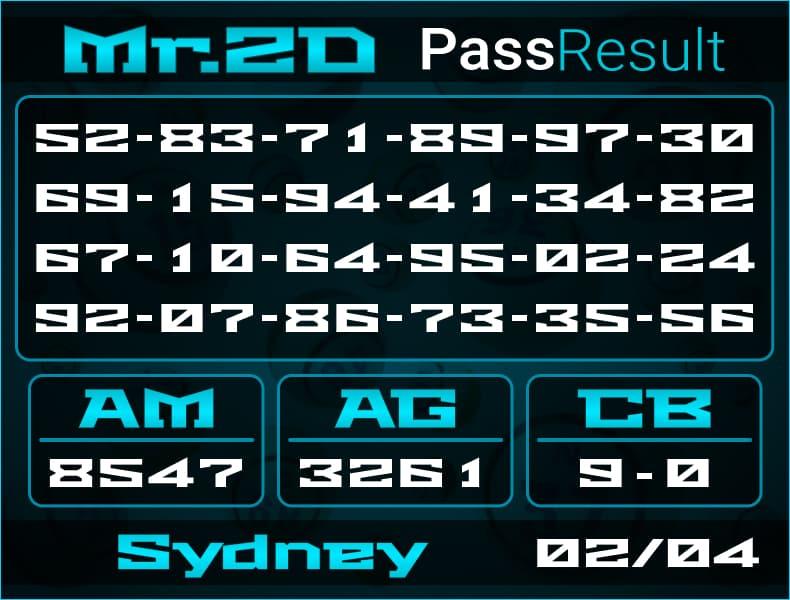 Prediksi Mr.2D | PassResult - Jumat, 2 April 2021 - Prediksi Togel Sydney