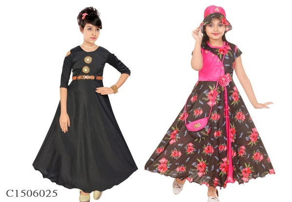 1 to 7 Years Old Girls Cotton Blend Gown Pack Of 2 Online Shopping In India | Girls Gown Pack of 2 Online | Kids Gown Online Shopping |