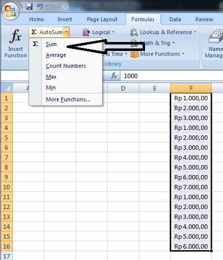 Formula SUM untuk menghitung jumlah angka dengan format mata uang rupiah