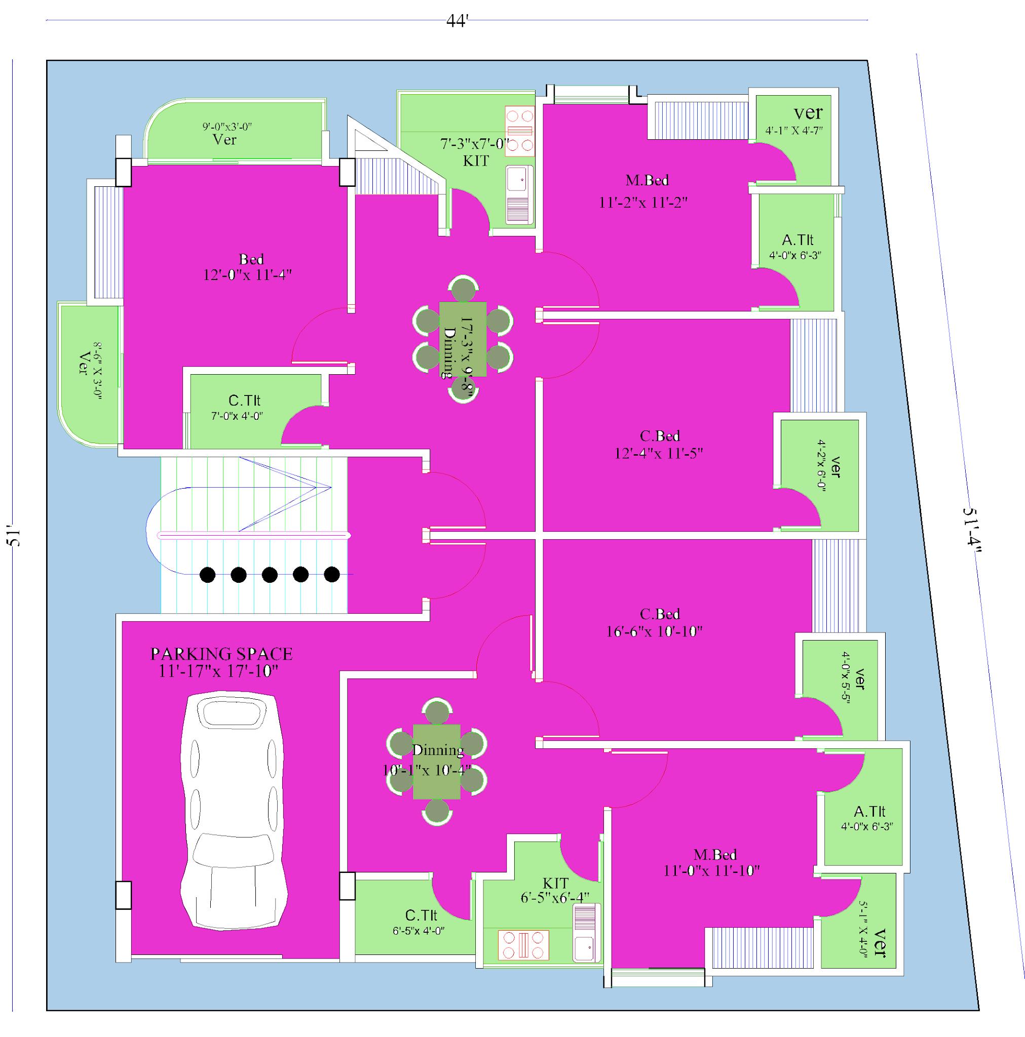 Duplex house ground floor plan