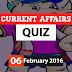 Current Affairs Online Quiz – 6 February 2016