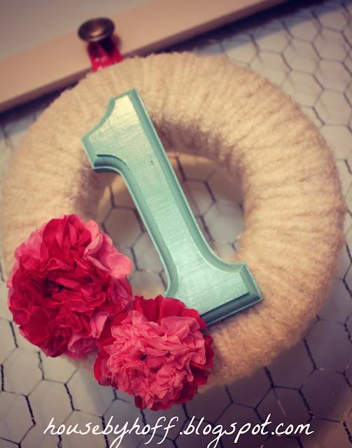 Yarn Wrapped Birthday Wreath - 10 Easy Party Ideas - #diy #party #birthdayparty #babyshower #partydecor #diydecor
