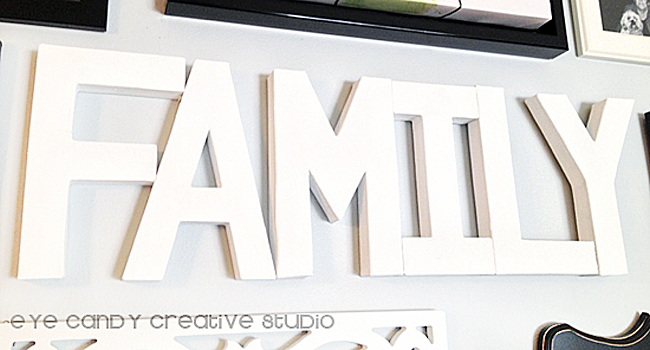 painting paper mache letters, family word, word art for gallery wall