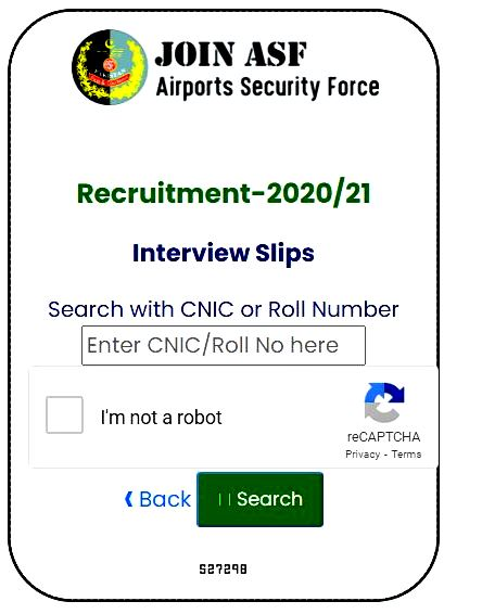 Airport Security Force ASF 2020-2021 Interview Slip Upload -www-asf.gov.pk