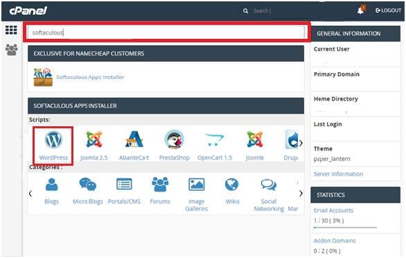 Softaculous WordPress script installer