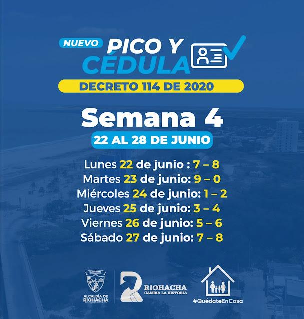Nuevo Pico y Cédula en Riohacha del 22 al 28 de junio