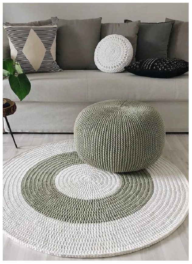 Knitted Pouf and Ottoman floor chusion from bean bag sofa coffe table ideas modern minimalist design