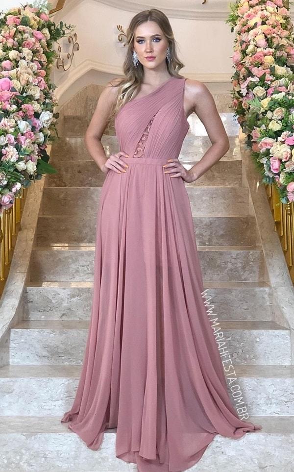 vestido longo rose queimado de um ombro só