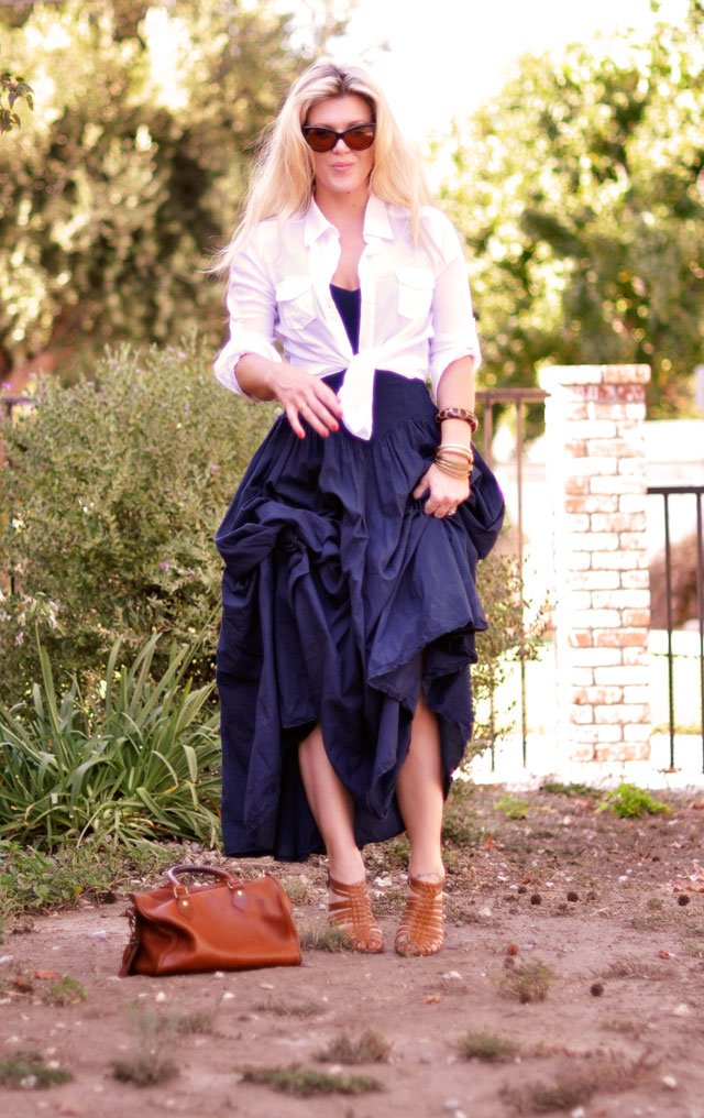 80s maxi dress with tied up blouse