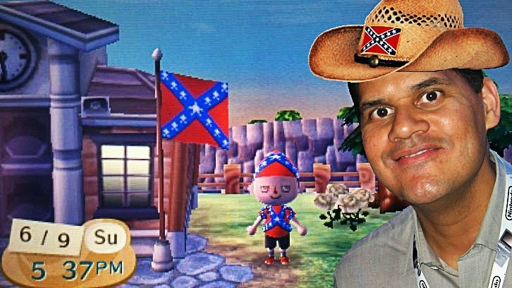 Rebel Crosser Villager Reggie Fils-Aime Nintendo president Confederado Confederate States of America South Southerner good ol' boys