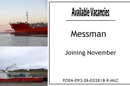 Hiring Messman At Norbulk Pacific Maritime Joining November 2021