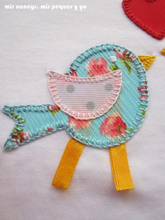 mis nancys, mis peques y yo, tutorial aplique en camiseta, birds in love, punto festón pico