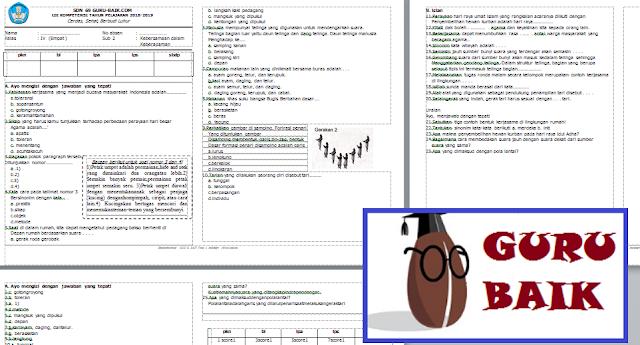 Soal Penilaian Harian (PH) Kelas 4 Semester 1 Kurikulum 2013 Revisi 2018