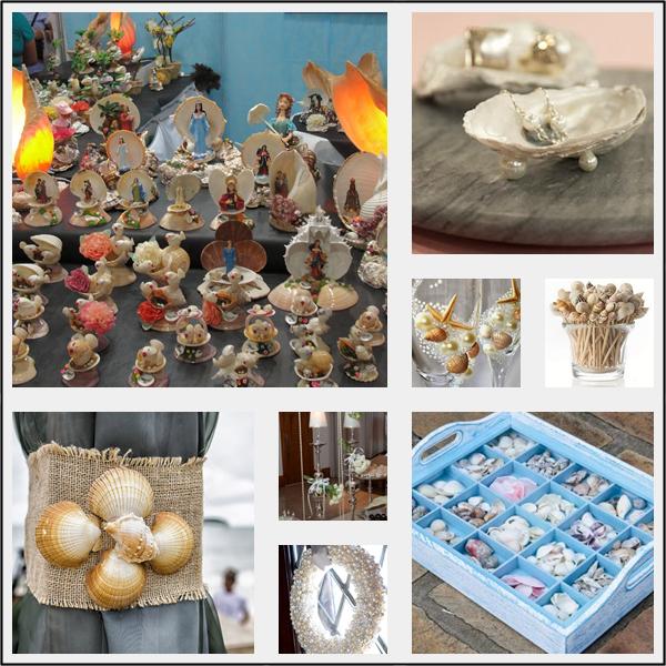 Decorações para casa e festas com pérolas e conchas