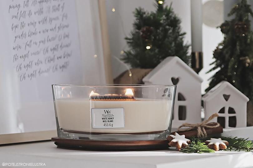 woodwick white honey świeca zapachowa z drewnianym knotem