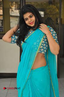 Telugu Actress Alekhya Stills in Green Saree at Swachh Hyderabad Cricket Press Meet  0077.JPG