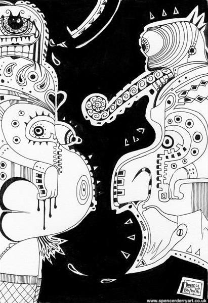 Chameleon - Buy an original hand-drawn outsider art surrealist automatism drawing  on ARTFINDER.