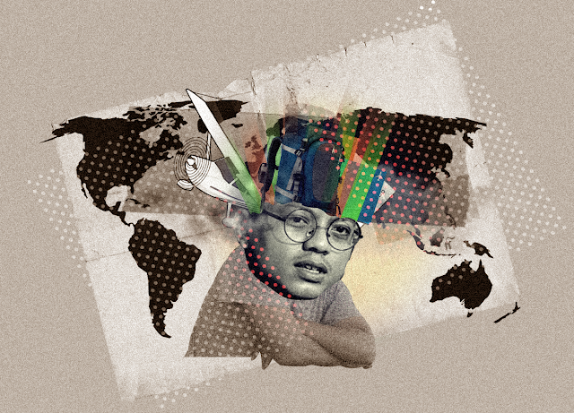 Gambar saya dengan latar belakang peta dunia dengan banyak pikiran