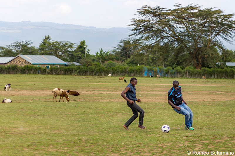 Francis and Isaac Playing Soccer Volunteering in Kenya with Freedom Global