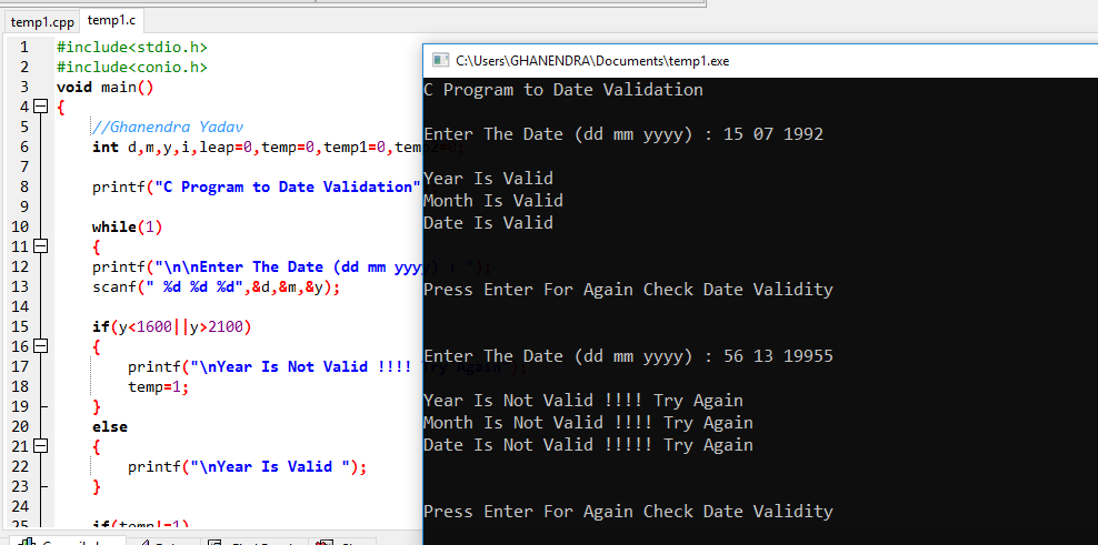 C Program Date Validation Using If Else Statements