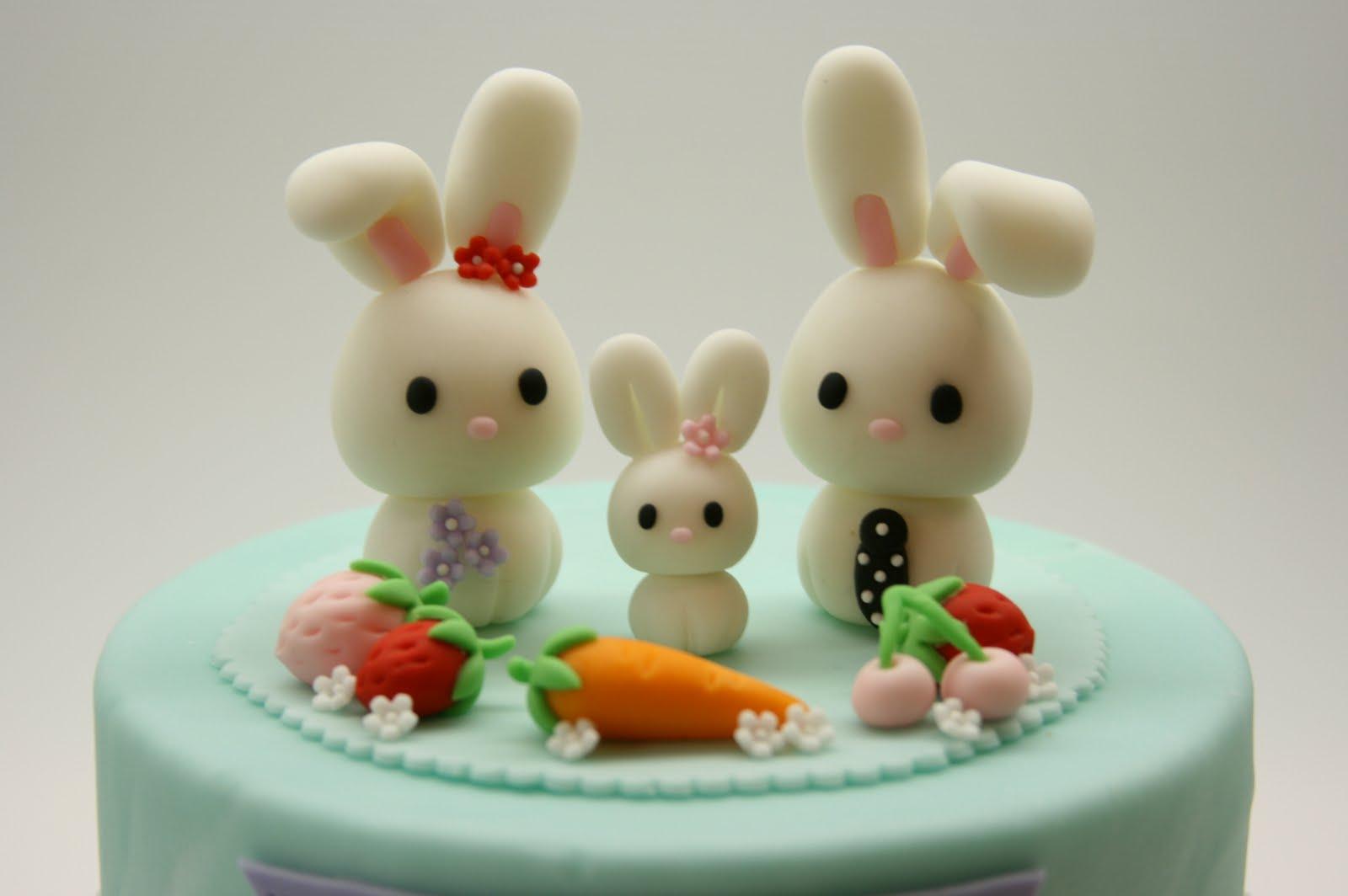 Beautiful Kitchen Lovely Rabbit Family Cake Topper