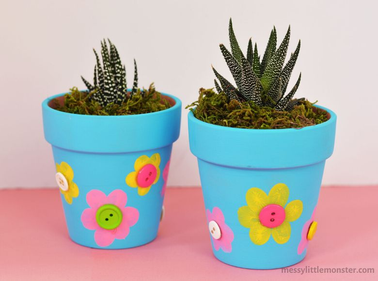 fingerprint and button flower pot painting ideas
