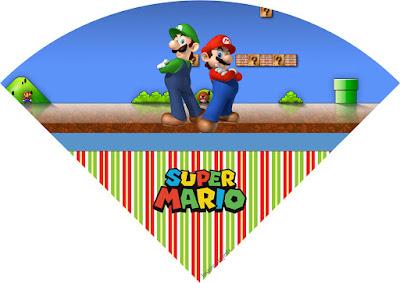 Conos= Cucuruchos para Imprimir Gratis de Fiesta de Super Mario Bros.