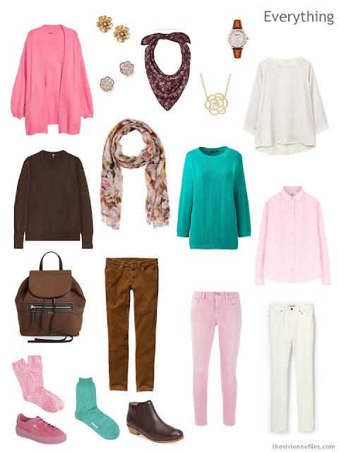 Tote Bag Travel capsule wardrobe in brown, pink, green and cream