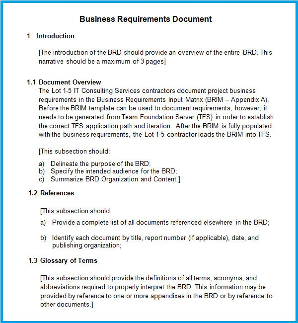 Business Requirements Template  Resume Business Template