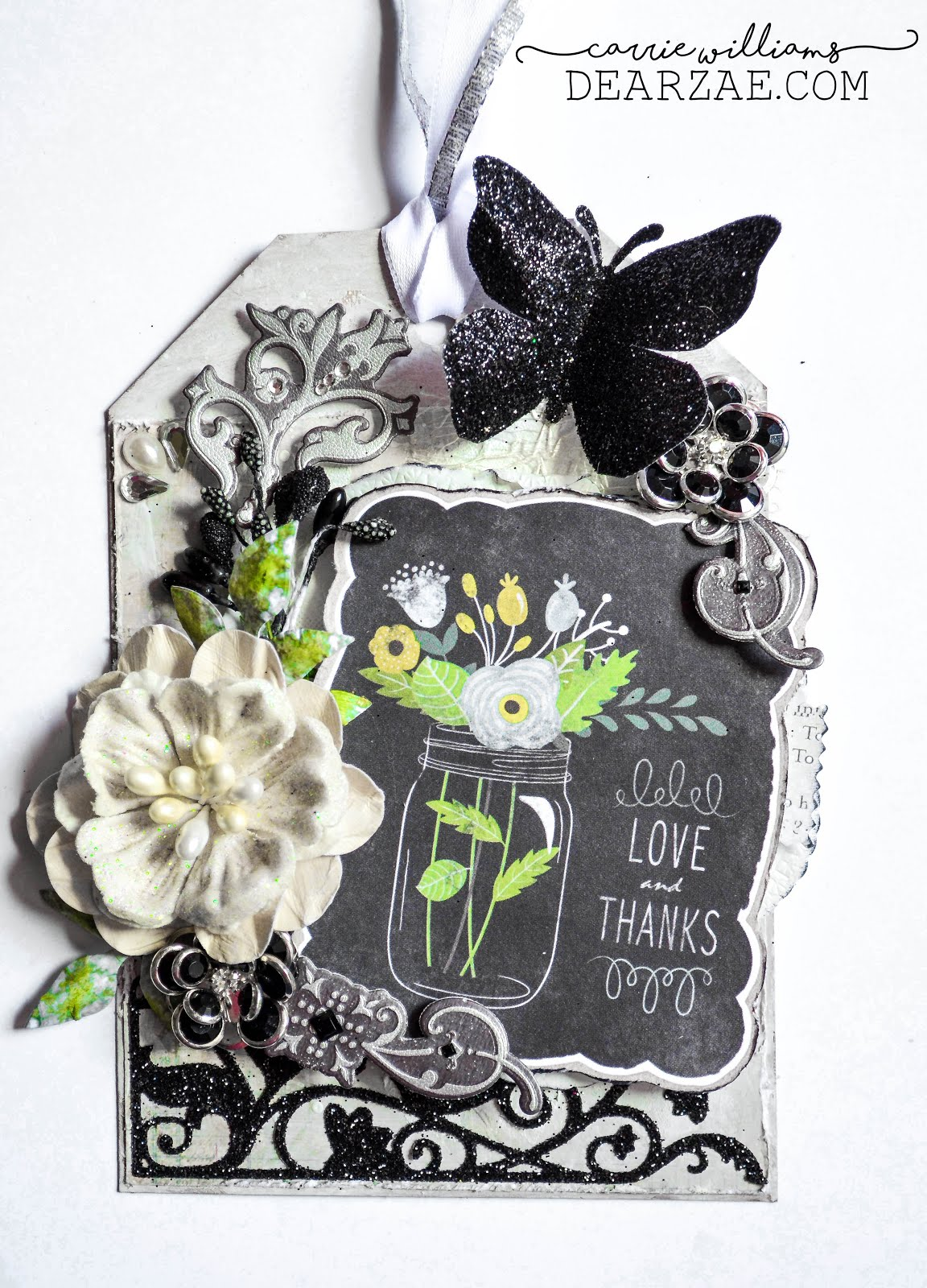 Elegant black and white chalkboard shabby chic mixed media tag with die cuts and handmade flower