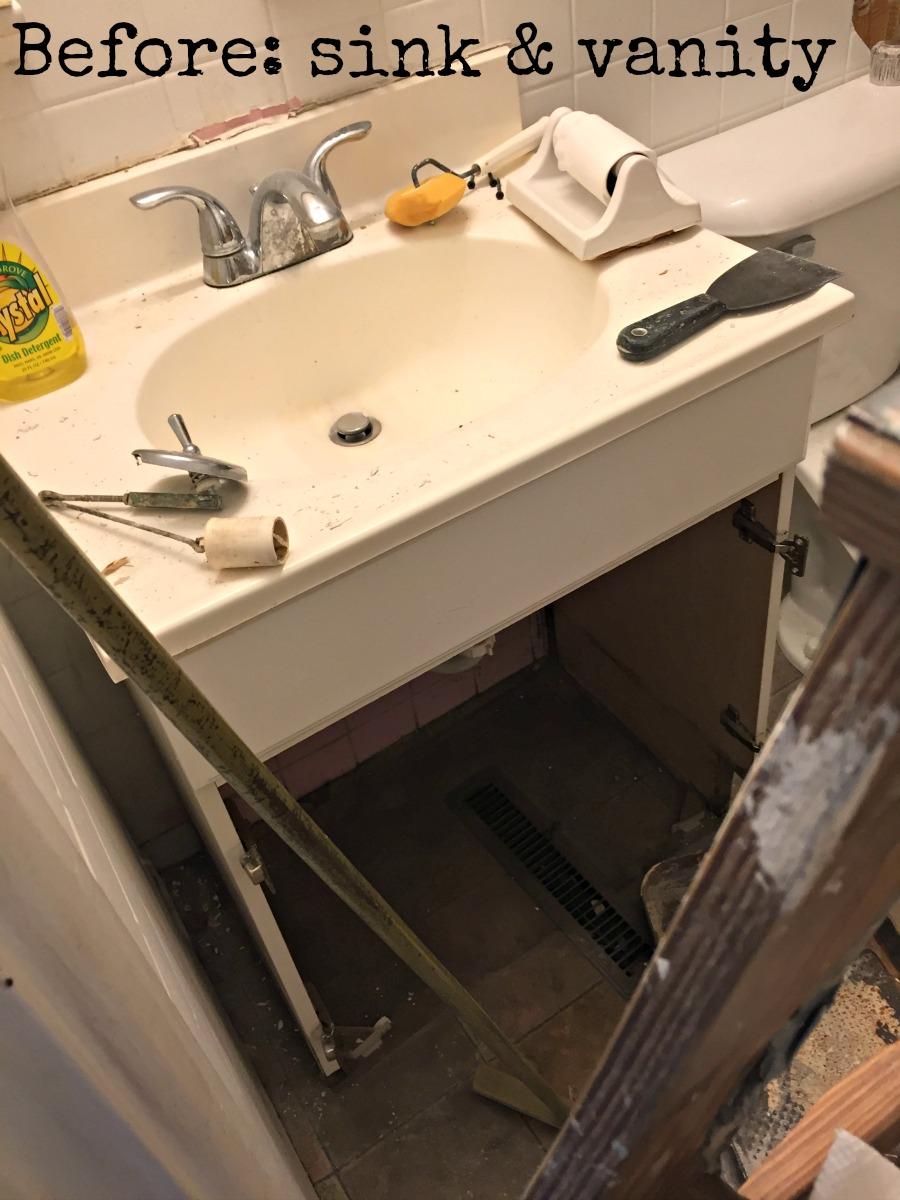 Before bathroom sink and vanity
