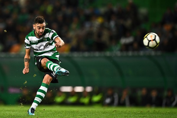 Sporting's midfielder Bruno Fernandes kicks a penalty during the Portuguese league football match Sporting CP vs SC Braga at the Jose Alvalade stadium in Lisbon on November 5, 2017
