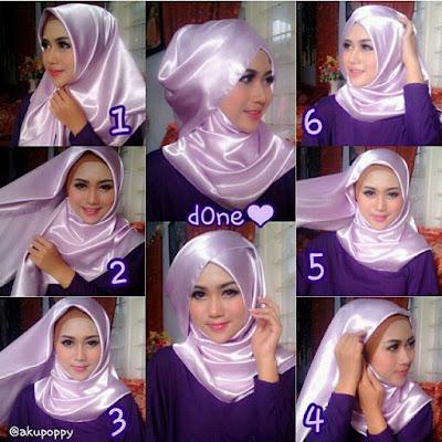 Tutorial Hijab Segitiga Elegan Bahan Satin Foto Step By Step